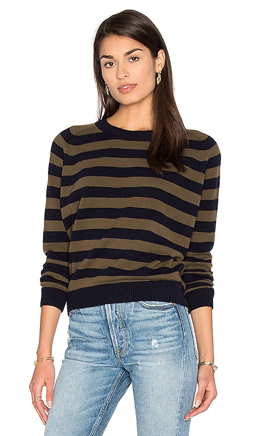 Vince Regiment Stripe Sweater in Navy