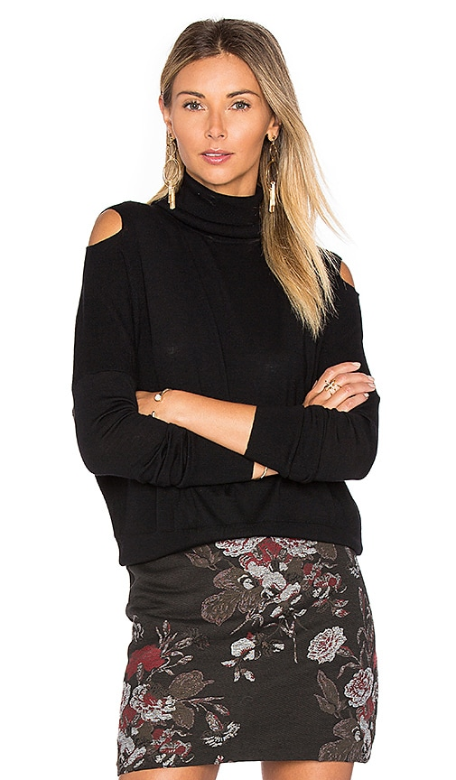 Vince Split Shoulder Sweater in Black