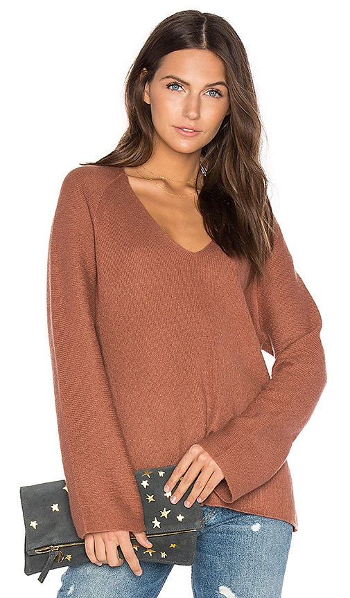 Vince Deep V Pullover in Brown
