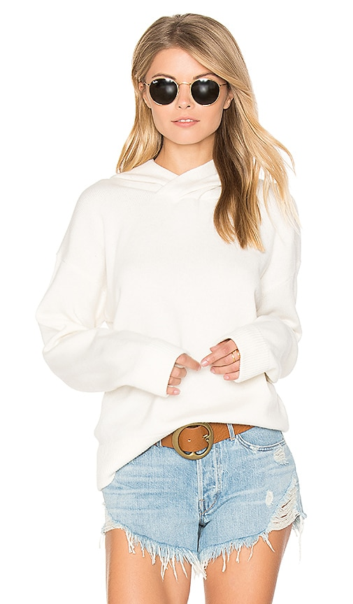 Vince Crossover Hood Sweater in White