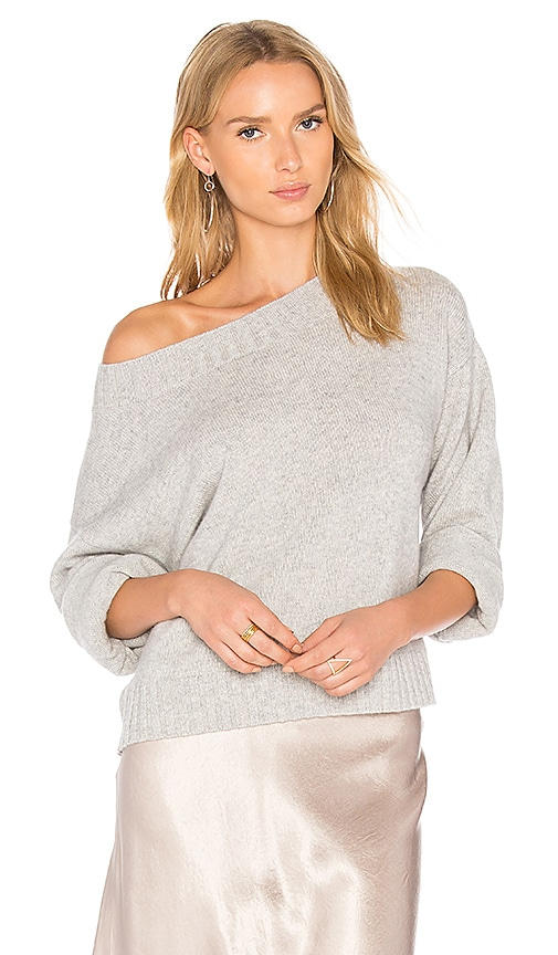 Vince Boxy Off the Shoulder Sweater in Gray