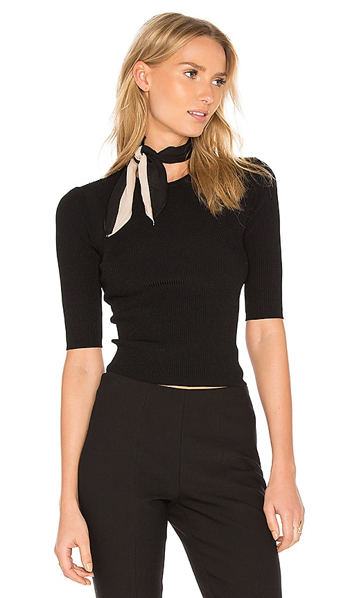 Vince Ribbed Crop Sweater in Black