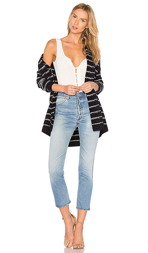 Vince Stripe Cardigan in Blue