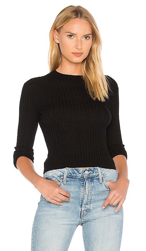 Vince Rib Mock Sweater in Black