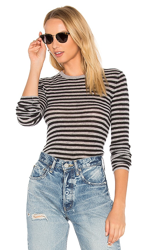 Vince Striped Rib Sweater in Gray