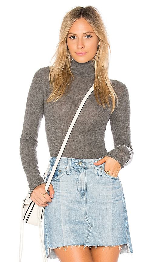 Vince Skinny Rib Sweater in Gray