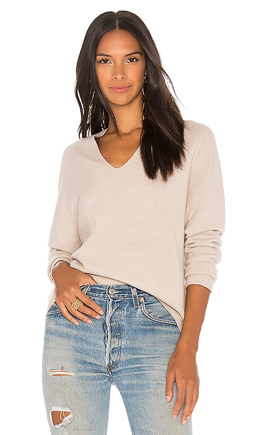 Vince Deep V Sweater in Blush