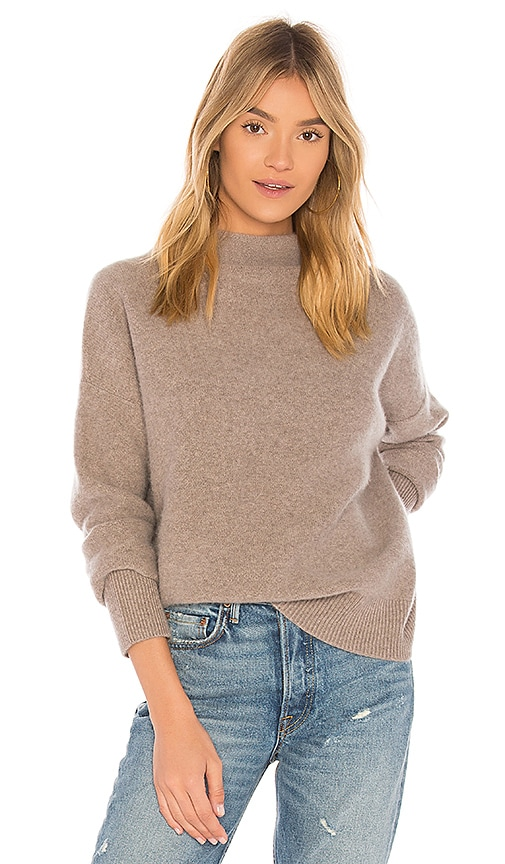 27f08381cb26f8 Vince Funnel Pullover in Heather Taupe | REVOLVE