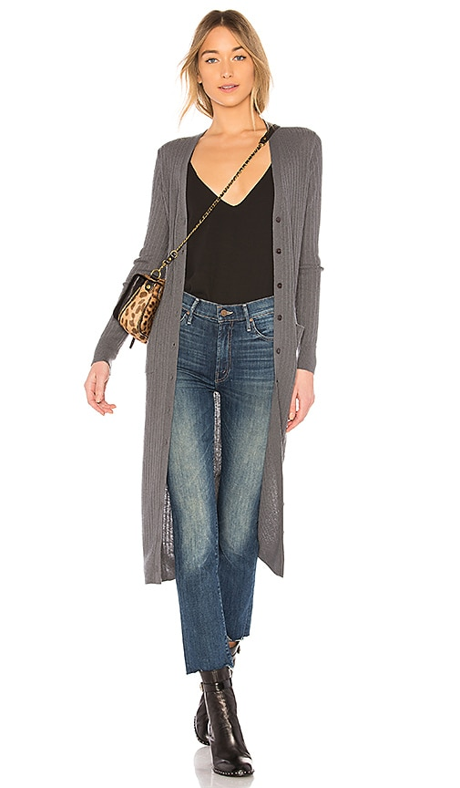 Vince Mixed Rib Long Button Cardigan in Gray