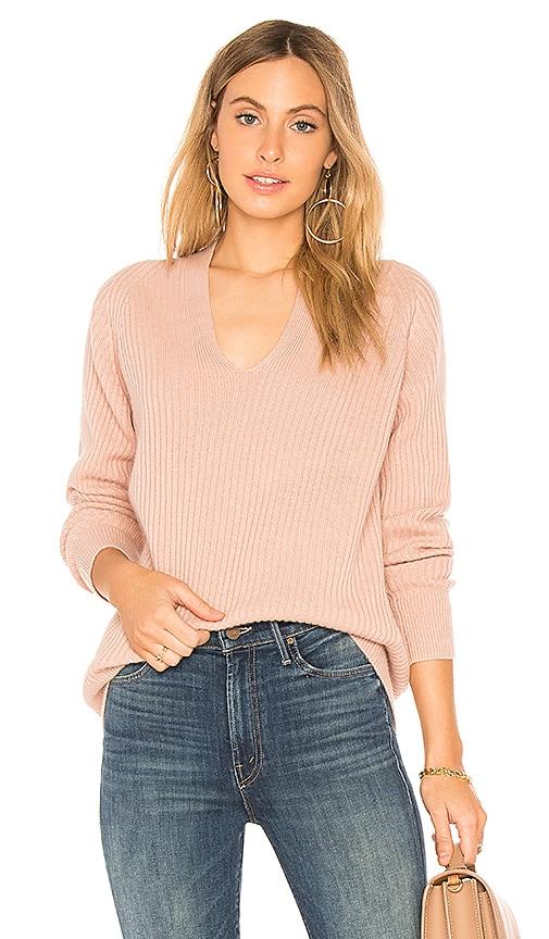 Vince Raglan Rib V Neck Pullover in Pink
