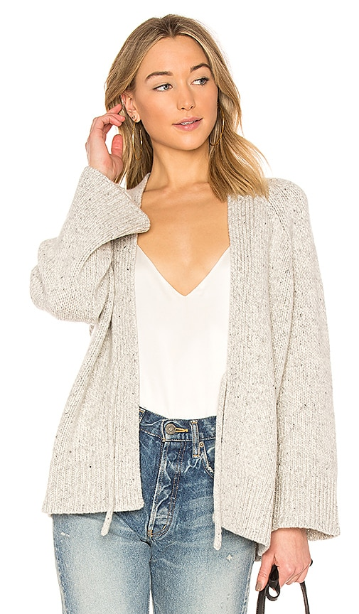 Vince Marled Raglan Rib Cardigan in Light Gray