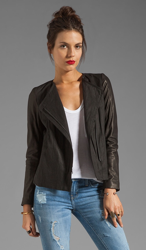 Lamb Leather Sleeve Asymmetric Jacket