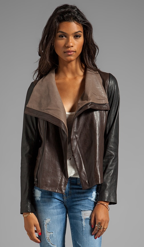 Leather Colorblock Jacket