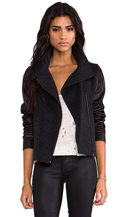 Funnel Neck Jacket with Leather Sleeves