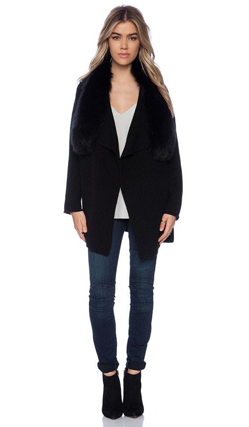 Arctic Fox Fur Collar Drape Cardigan