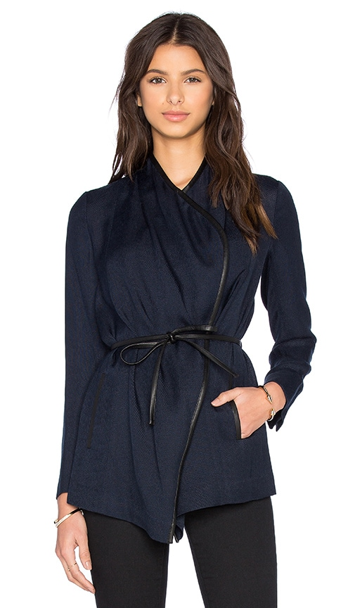 Vince Leather Trim Drape Neck Jacket in Navy