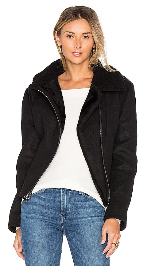 Vince Double Face Lamb Shearling Moto Jacket in Black