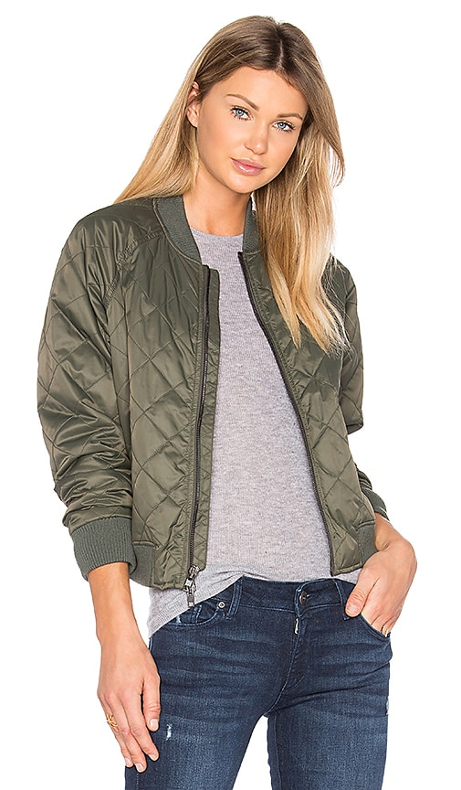 Vince Quilted Bomber in Olive