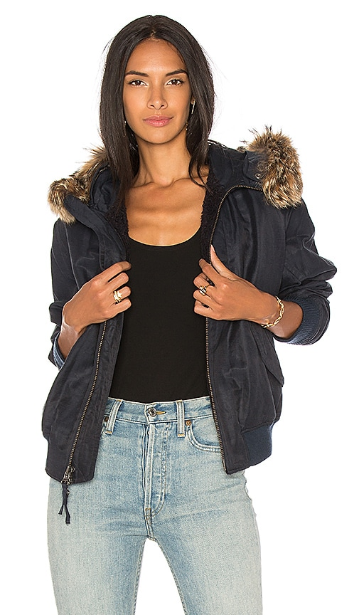 Vince Fur Trim Bomber in Navy