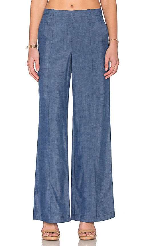 Chambray Pintuck Wide Leg Trouser
