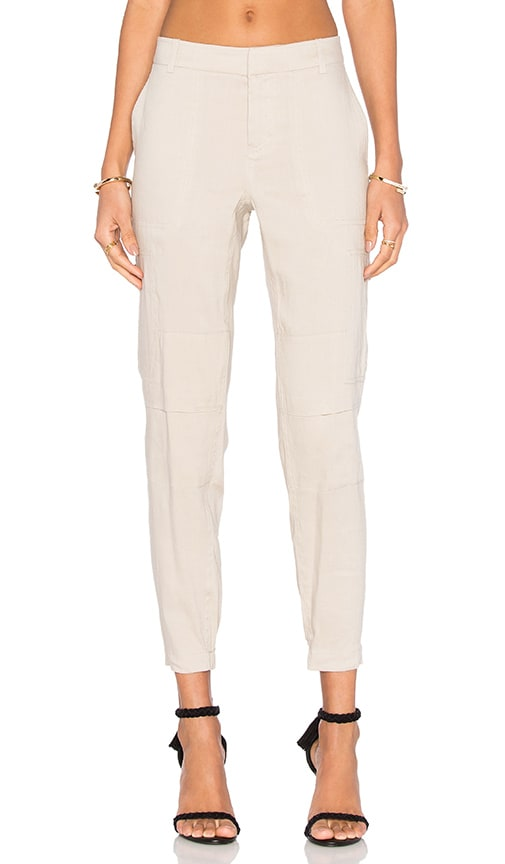 Vince Linen Cargo Pant in Marzipan