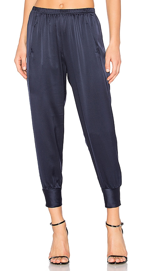 Vince Slim Satin Jogger in Navy