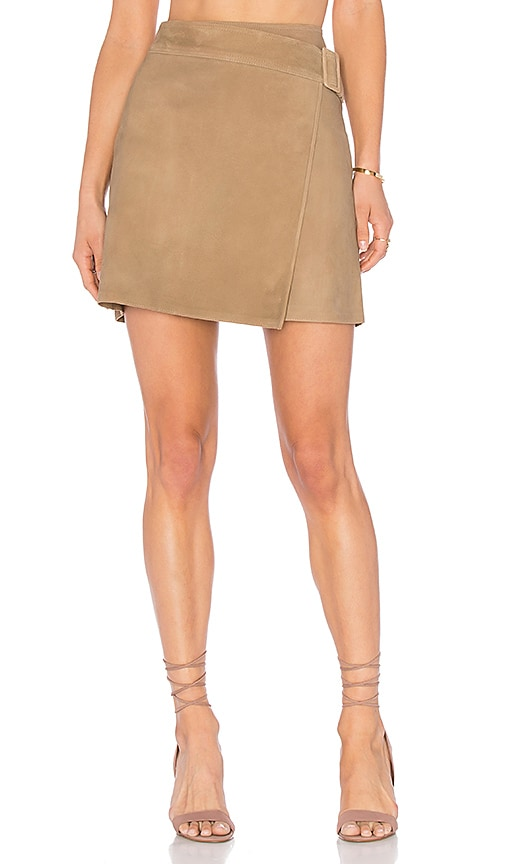 22a55d0021 Vince Belted Suede Skirt in Taupe   REVOLVE
