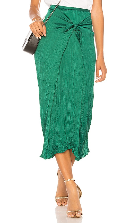 Vince Pleated Tie Front Skirt in Green