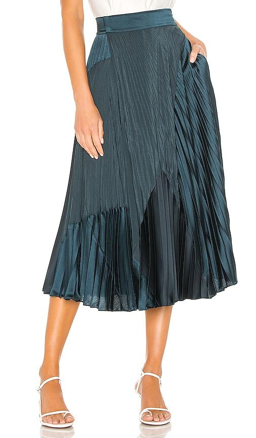 Mixed Media Pleated Skirt