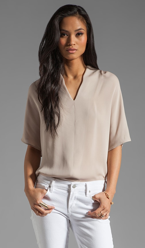 Silk Drape Neck Top