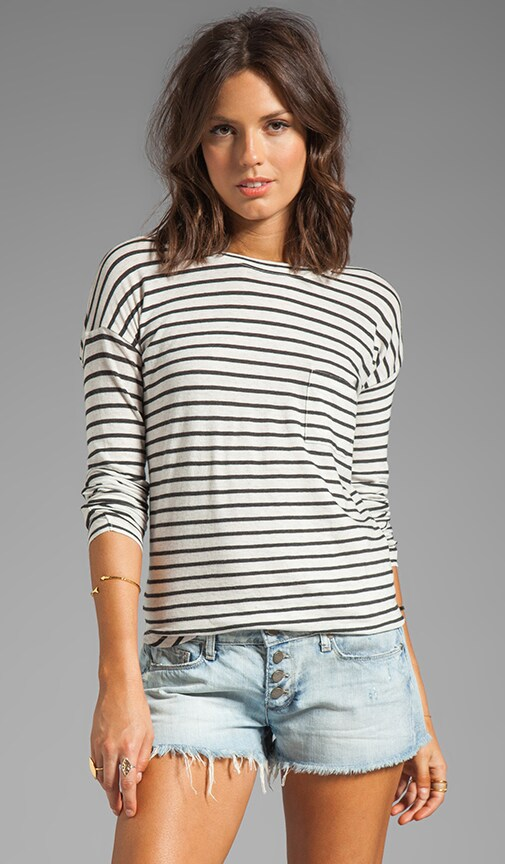 3/4-Sleeve Striped Tee
