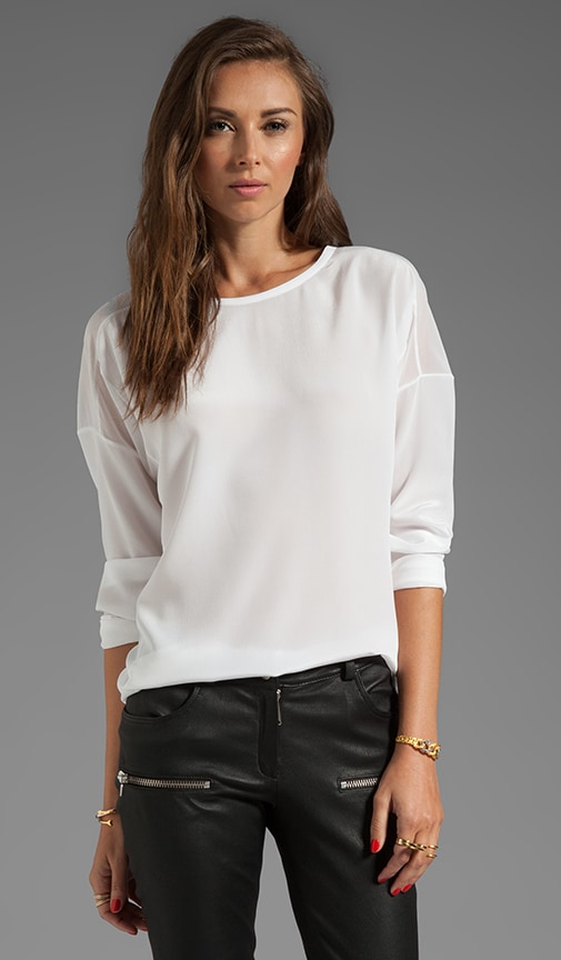 Sheer Trim Silk Blouse