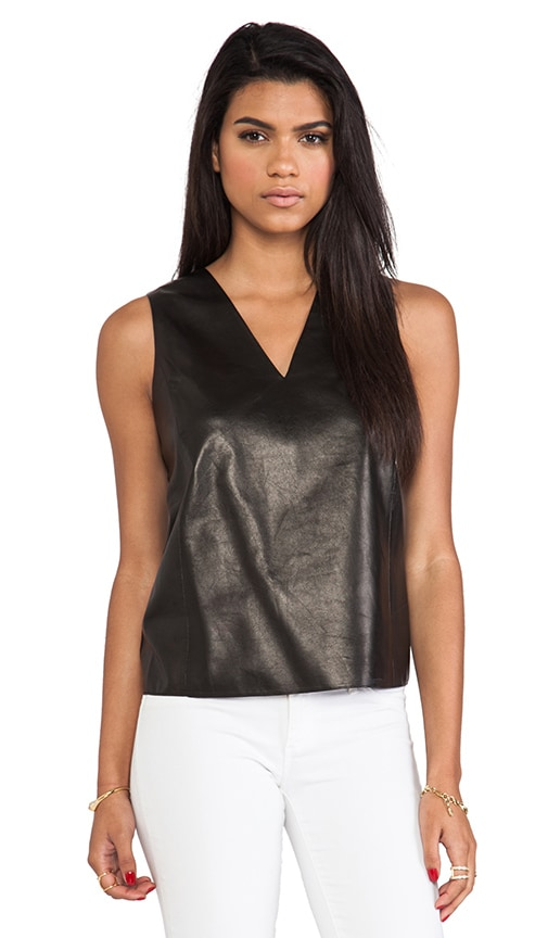 Silk Back V-Neck Leather Shell