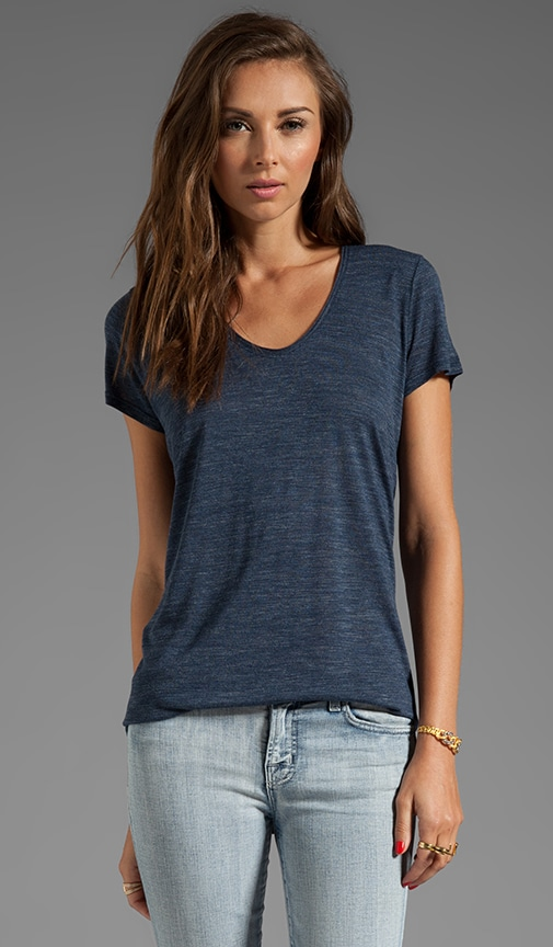 Short Sleeve Rolled V-Neck Tee