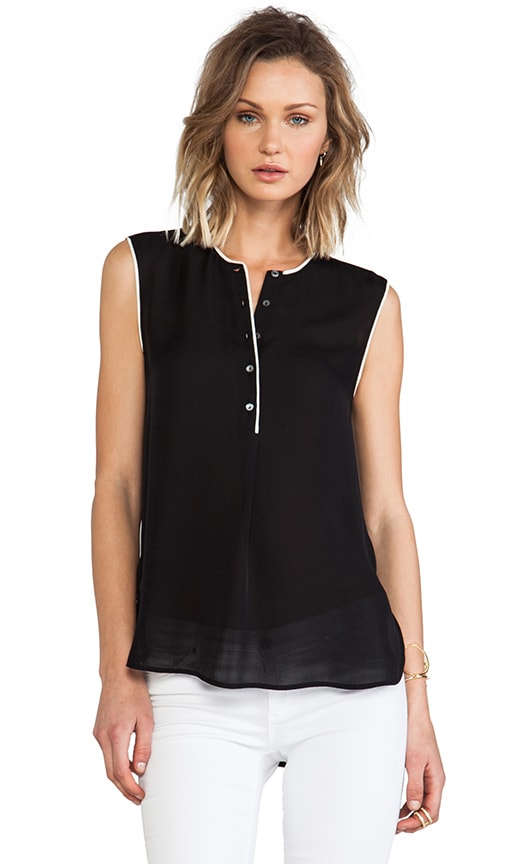 Color Tipped Sleeveless Blouse
