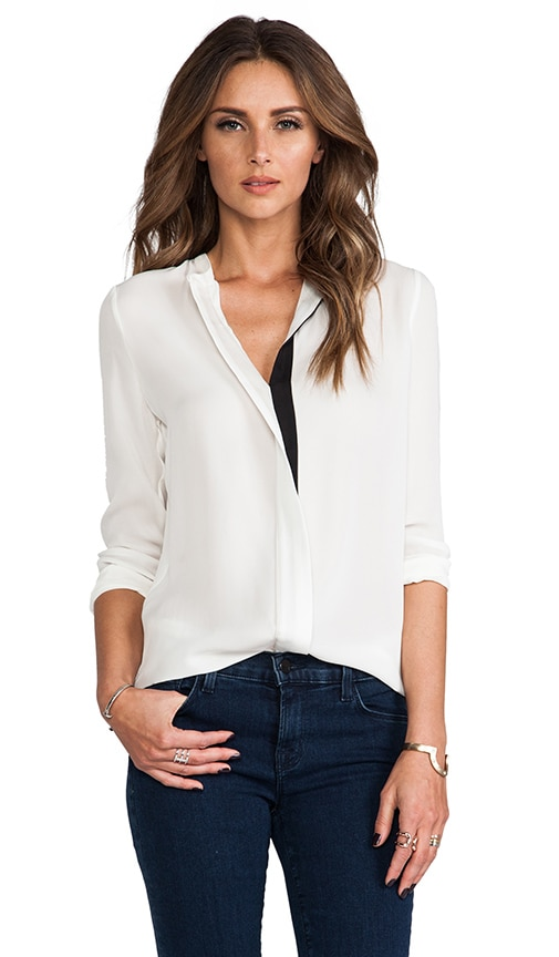 Color Tipped Long Sleeve Button Up