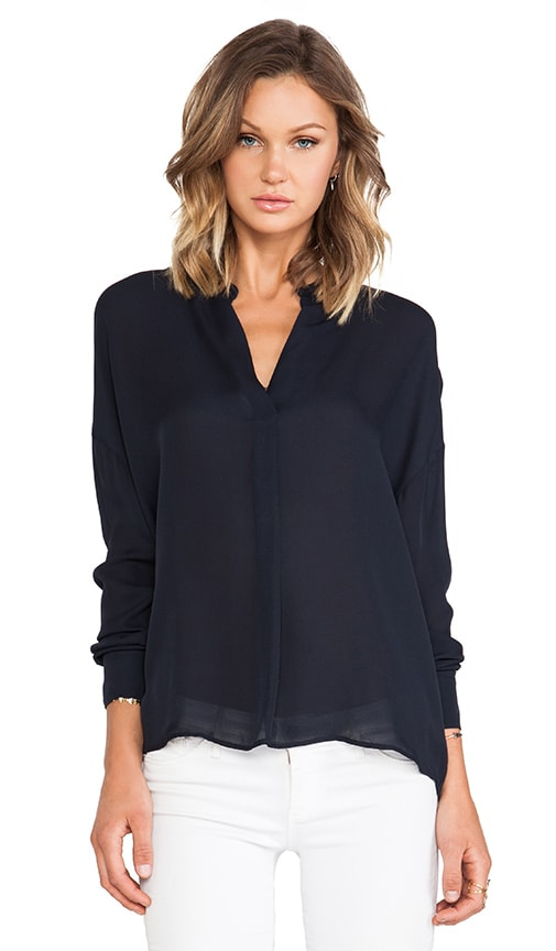 Side Drape Long Sleeve Blouse