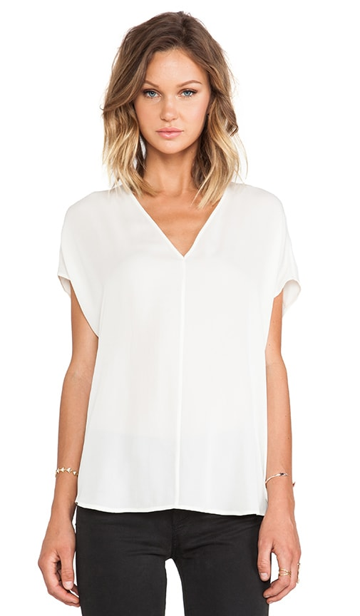 Side Drape V-Neck Blouse