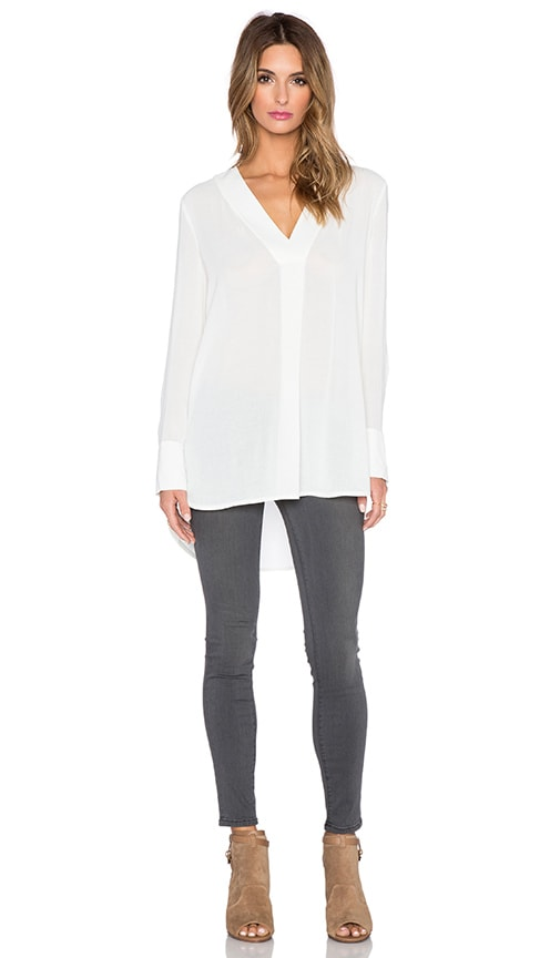 Vince Long Sleeve V Neck Top in Off White