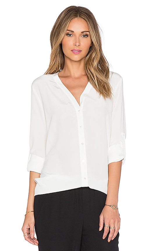 Vince Vee Button Down Blouse in Off White