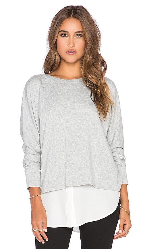 Vince Mixed Media Top in Heather Grey & Off White