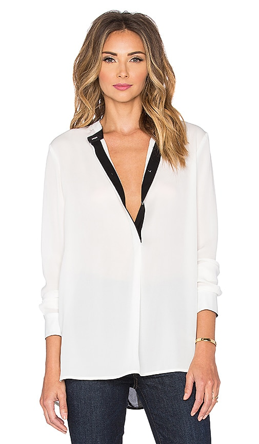 Vince Color Tipped Blouse in Off White & Black