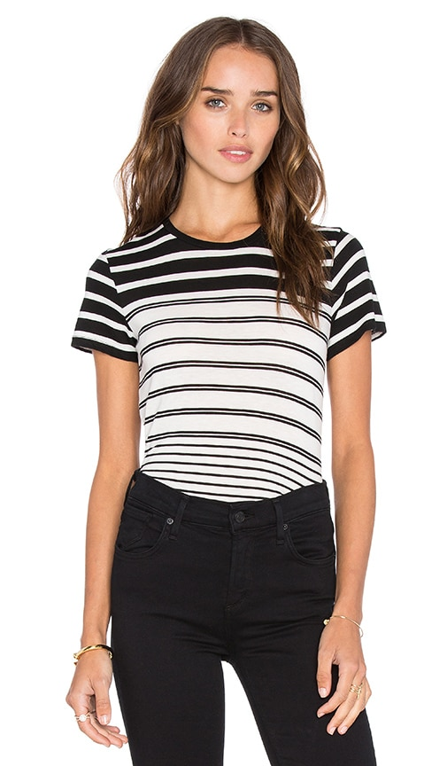Vince Short Sleeve Engineered Stripe Tee in Black & Off White