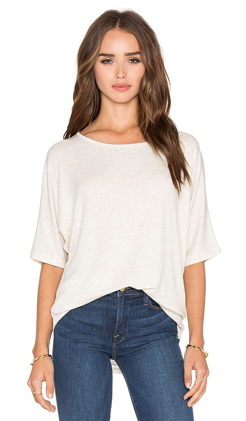 Vince Luxe Rib Dolman Tee in Heather White