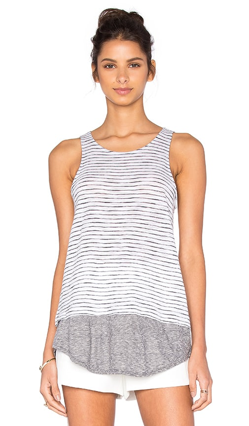 Vince Stripe Mixed Media Tank in White