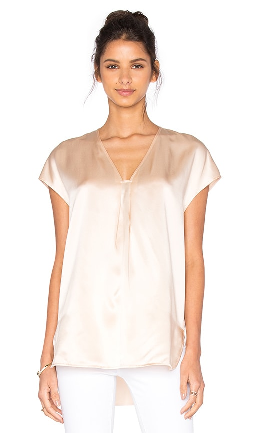 Vince Short Sleeve Slim Blouse in Beige