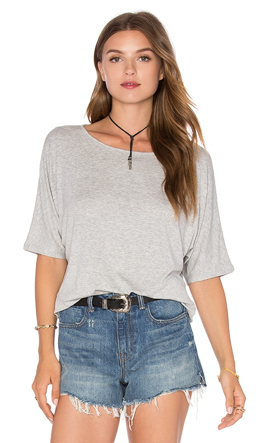 Vince Luxe Rib Dolman Tee in Heather Grey