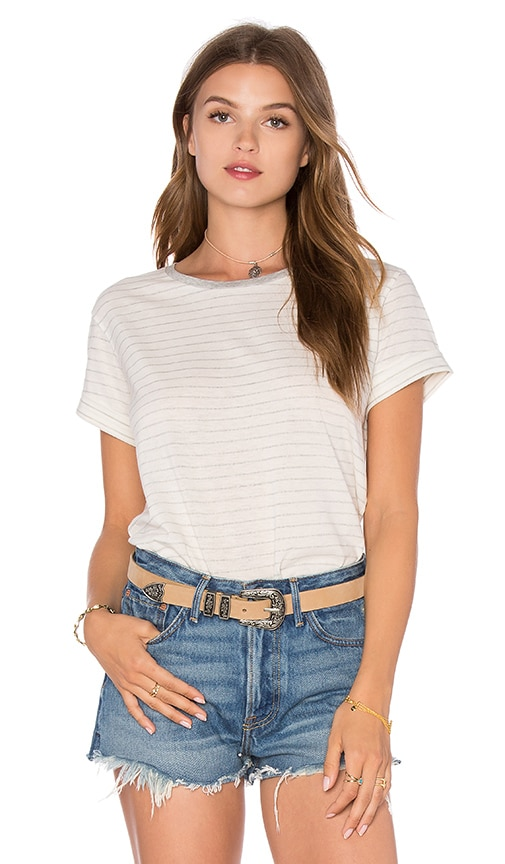 Vince Rolled Sleeve Stripe Tee in Off White & Heather Grey