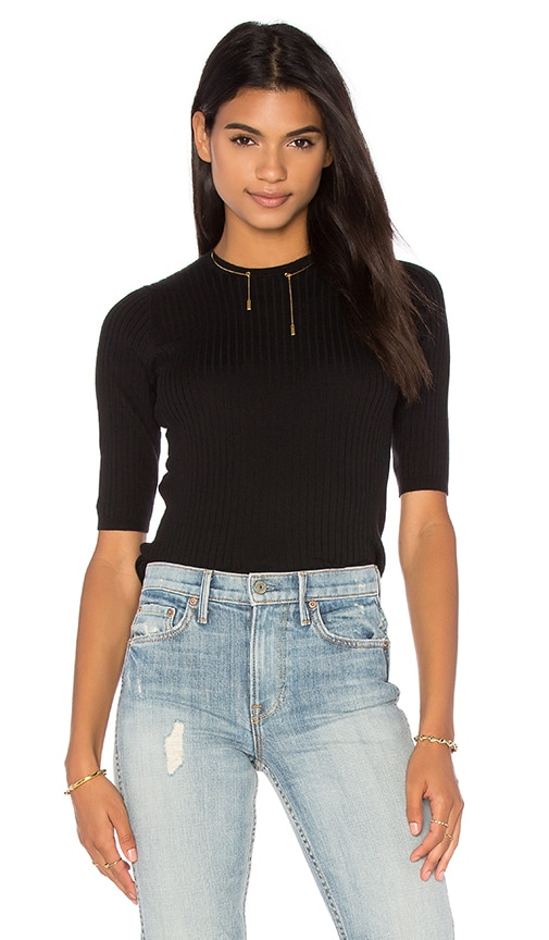 Vince Skinny Rib Sweater in Black