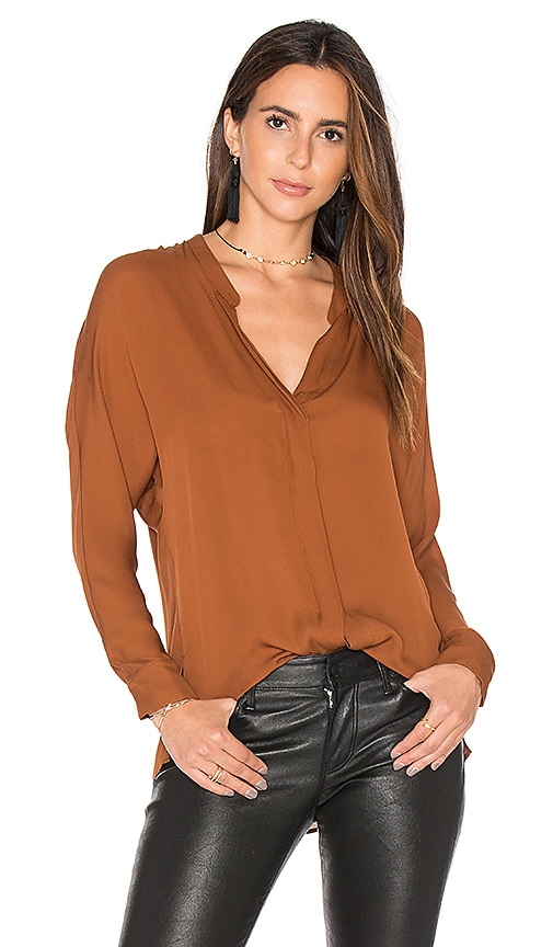 Vince Double Front Blouse in Brown